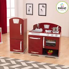 Kid Craft Retro Kitchen Kidkraft 2 Piece Red Retro Kitchen And Refrigerator Walmartcom