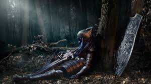 dark souls knight artorias armor sword shield sitting dark forest