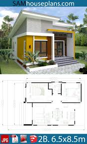 Simple Small House Design Pictures House Plans 6 5x8 5m With 2 Bedrooms Small House Design