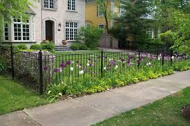 front yard fence. Front Yard Landscaping Ideas With Minimalist Wrought Iron Fence And Metal Fences T
