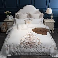 embroidery luxury bedding set king queen size 4 white wedding bed set duvet cover bedsheet decorative pillowcase comforters duvet covers black and