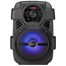 Qfx Portable Bluetooth Speaker With Microphone And Disco Light Qfx Portable Bluetooth Rechargeable Party Speaker With 8 In Woofer Fm Radio Usb Port Aux Input And Party Light