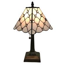 tiffany style jeweled finish mission table lamp