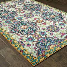 blue yellow area rug teal and