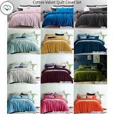 cotton velvet quilt doona duvet cover set by accessorize queen king super king