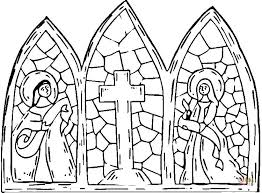 Stained Glass Cross Coloring Page Free Printable Coloring Pages