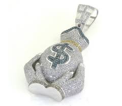 money bag mens diamond pendant 160 00603