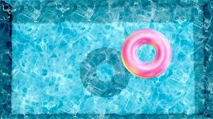 swimming pool beach ball background. Floating Rubber Ring In Water Pool, Beach Ball Swimming Pool Top View Of Background E