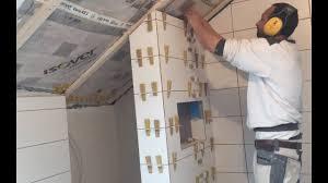 Tile Laying Wall Shower Bathroom Tips Tricks Miter Corners Sanding