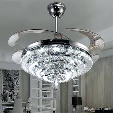 ceiling fan with light fans led crystal chandelier lights invisible living room bedroom restaurant ceiling fan
