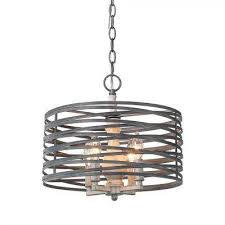 4 light aged silver chandelier with drum metal shade