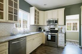 off white kitchen cabinets dark floors. Marvelous Off White Shaker Kitchen Cabinets With Style Subway Tiles Dark Floors S