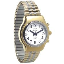 mens gold talking watch black dial royal one button talking watch
