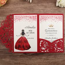 Invitation Quincenera Us 118 75 5 Off 100pcs Red Laser Cut Floral Invitation Cards For Wedding Party Quinceanera Anniversary Birthday Cw0008 In Cards