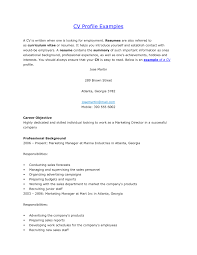 examples of a resume profile template examples of a resume profile
