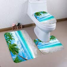 palm tree beach pattern 3 pcs bath mat toilet mat