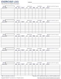printable exercise log 5 day