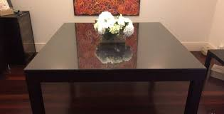 dining table with custom glass top seats 8