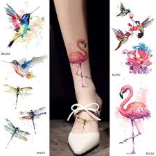 Us 046 5 Offwatercolor Fake Flamingo Temporary Tattoo Stickers Hummingbirds Dragonfly Fake Tatoos Waterproof Body Art Arms Tattoo In Temporary