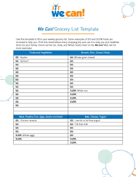Template For Shopping List 40 Printable Grocery List Templates Shopping Template Lab