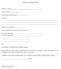 Printable Example Of Generic Medical Records Release Form Template ...