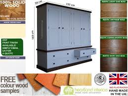 Pine Effect Bedroom Furniture Large Quad Wardrobe White Painted Amp Waxed 4 Door Quad Robe