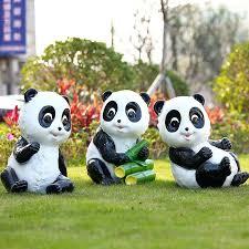 cute garden statues panda statue cartoon ornaments set cubs outdoor animal
