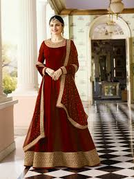 New Frock Suit Design Impressive Red Colored Partywear Havy Embroidered Anarkali Suit