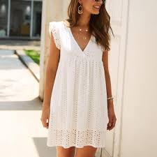 Women's White <b>Summer Mini</b> Dress - <b>V</b>-<b>Neck</b>, Lace Hollow, Loose ...