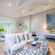 Charming blue chevron door designed by meg braff interiors stands boldly against a white foyer wall painted with benjamin moore blueberry finish. 75 Beautiful Coastal Living Room With Gray Walls Pictures Ideas April 2021 Houzz