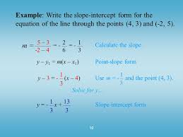 10 example write the slope intercept form for the equation of the line through