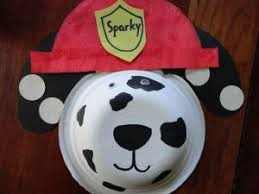 sparky the fire dog craft. toddlers will love making the sparky dalmatian bowl craft as part of a fire safety unit. this cute is made from paper bowl, markers, glue, dog r