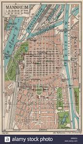 Germany Vintage Chart Mannheim Vintage Town City Map Plan Germany 1933 Old