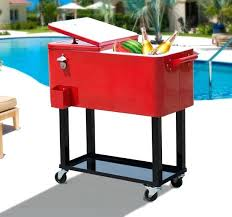 beverage cooler cart outdoor patio party portable rolling cooler cart ice beer beverage chest beverage cooler