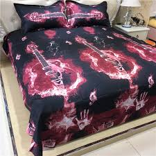 3D Fashion Music notes bedding set black red guitar quilt duvet ... & 3D Fashion Music notes bedding set black red guitar quilt duvet cover full  queen size double bedspread sheets bed pillowcase-in Bedding Sets from Home  ... Adamdwight.com