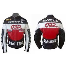 handmade honda cbr racing motorcycle leather jacket ce approved with safety pads
