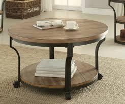 acme 80460 geoff oak finish wood top black metal frame round coffee table
