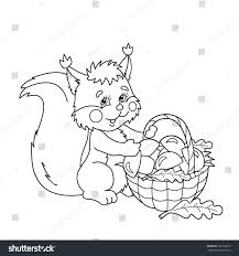 Small Picture Coloring Page Outline Cartoon Squirrel Basket Stock Vector
