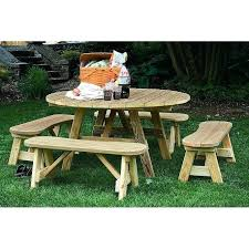round picnic table pressure treated pine round picnic table and 4 curved benches free