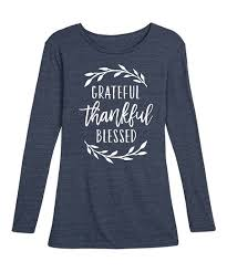 Zulily Size Chart Instant Message Womens Heather Blue Grateful Thankful Blessed Long Sleeve Tee Women
