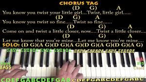 Twist And Shout (The Beatles) Piano Chord Chart With Chords/lyrics ...