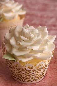 Ivory Sugar Rose Wedding Cupcakes