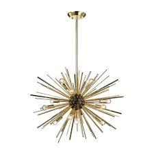 titan lighting starburst 12 light gold pendant