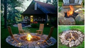 Unusual DIY Fire Pit Idea Extended to Stone Flooring for Wooden Outdoor  Chairs