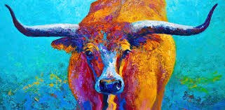 western paintings painting widespread texas longhorn by marion rose