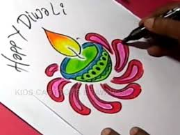 How To Draw Simple Diwali Greeting Step By Step