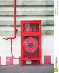 Fire Equipment Cabinet Hydrant With Water Hoses And Fire Extinguish Equipment Stock Photo
