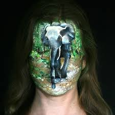 with the contours of the face using the nose on her model to reflect the elephants trunk a unique and outstanding piece of art congratulations riina