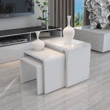 white side tables. MODERN DESIGN WHITE HIGH GLOSS NEST OF 3 COFFEE TABLE/SIDE TABLE LIVING ROOM White Side Tables