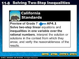 holt ca course 1 11 8 solving two step inequalities preview of grade 7